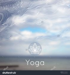 Vector Yoga Illustration Poster For Class With A Nature BackdropTemplate Linear Icon Logo In Outline Style Studio