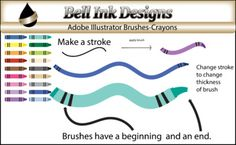 *****THESE ARE NOT CLIPART IMAGES*********** In this download, you will find 18 crayon brushes that you can load into Adobe Illustrator. When using brushes in Illustrator, you will notice breaks in the brush. This is normal. You must save your png images as Art Optimized and not Text Optimized.