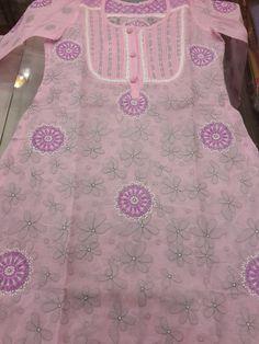 Lucknavi Chikan Pink Cotton Kurti with fine allover chikankari on both front & back & designer neck with patti work #chikankurti $34.99