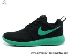 Wholesale Discount Black Stadium Green Volt Mens Nike Roshe Run 511881-037 Casual shoes Store