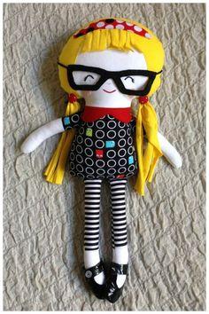 "Mimis Lovables #mimislovables  ♥ - #dollsanddaydreams fabric doll ""school girl"" handmade doll"