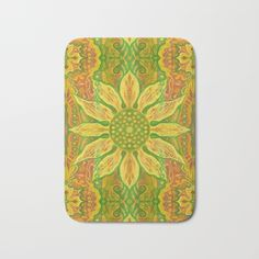 """Sun Flower"", bohemian floral, yellow, green & orange Bath Mat by Clipso-Callipso 
