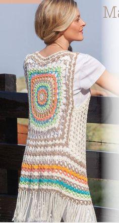 Transcendent Crochet a Solid Granny Square Ideas. Inconceivable Crochet a Solid Granny Square Ideas. Point Granny Au Crochet, Cardigan Au Crochet, Gilet Crochet, Crochet Vest Pattern, Crochet Coat, Crochet Jacket, Crochet Beanie, Crochet Shawl, Crochet Clothes