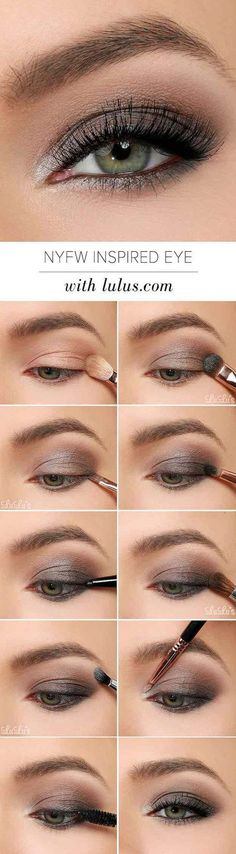 to NYFW inspired Eye Make-up tutorial. Grayish & Brown Eye shadow for dull d How to NYFW inspired Eye Make-up tutorial. Grayish & Brown Eye shadow for dull d , How to NYFW inspired Eye Make-up tutorial. Grayish & Brown Eye shadow for dull d , Smoky Eye Makeup Tutorial, Smokey Eye Makeup, Skin Makeup, Grey Eye Makeup, Makeup Case, Makeup Box, Brown Eyeshadow Tutorial, Bronze Makeup, Black And Silver Eye Makeup