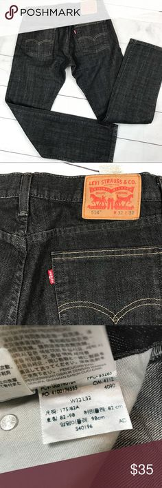 "Men's Levi's 32X32 514 Dark Grey Straight Jeans Men's  Levi's 32X32 Levis Jean  514  Straight leg  Great condition!! Like brand new  Waist size 32 Inseam 32 Dark wash charcoal Button zip fly  100% cotton jeans  Laying flat: Waist 16"" Hip 19"" Rise 9.5"" Cuff width 8.5"" Inseam 32""  [L10] Levi's Jeans Straight"