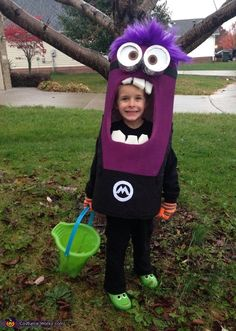 Jennifer: This is my 5 year old little boy in his purple minion costume that I made him :).