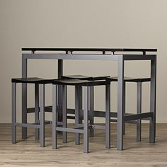AmazonSmile: Pub Table Set 5 Piece Counter Height Dining Furniture Home Bar Table & Stools Bistro Breakfast (Black): Kitchen & Dining