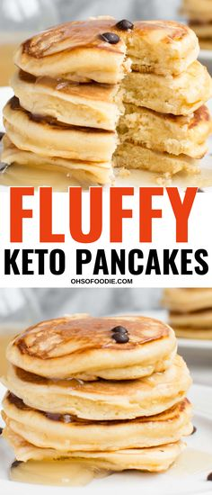 Keto Pancakes - Oh So Foodie - Low carb keto pancakes that make the perfect keto breakfast or low carb breakfast that are only net carbs per serving! These easy low carb pancakes are THE BEST! pancakerecipes- Low carb keto pancakes that make the perfe. Best Keto Pancakes, Low Carb Pancakes, Low Carb Keto, Low Carb Recipes, Loaf Recipes, Salmon Recipes, Cooking Recipes, Comida Keto, Coconut Flour Recipes