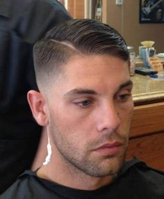 Side part - Razor fade nape and sides