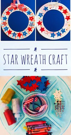 Patriotic Star Wreath Paper Plate Craft for Kids #papercraft #preschool #patriotic #paperplate #kidscraft #summercamp #summer