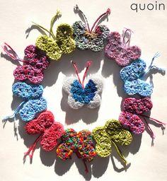 crocheted butterfly wreath