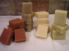 Making soap with wonderful natural clays: (from left) rose, rhassoul, kaolin and bentonite clays