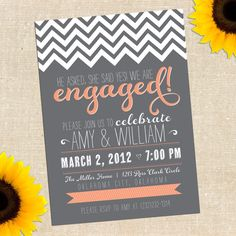 DIY PRINTABLE Chalkboard Engagement Party Invitation, customized with your colors.