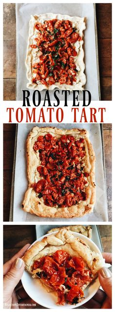 Roasted Tomato Tart is a great way to enjoy garden tomatoes by roasting them first, then cooking with goat cheese and fresh basil on puff pastry.