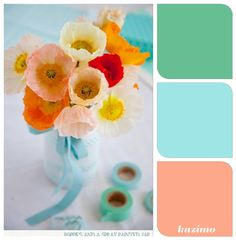 Peach and turquoise, nursery colors Bright poppies. I love poppies and these colors together