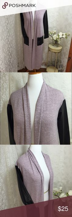 """Long open sweater with leather like sleeves. B023. Long open sweater with leather like sleeves and front pockets. Pink and black colored. Lightweight fabric. Loose fit. High quality. 100% polyester. 100% PU. 42"""" long Mustard Seed Sweaters Cardigans"""