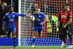 Vardy raced straight back to the centre circle after scoring as Leicester chased a point, but eventually they ran out of time Manchester City, Manchester United, Jamie Vardy, Brendan Rodgers, Big Six, Harry Kane, Old Trafford, Leicester, Premier League