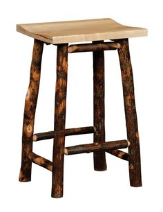 Amish Rustic Hickory Twig Backless Bar Stool
