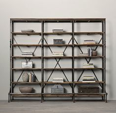 French Library Shelving, Natural Antiqued Iron - contemporary - bookcases cabinets and computer armoires - Restoration Hardware