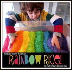 DIY Rainbow Rice - your kids will LOVE this St. Patrick's Day craft.