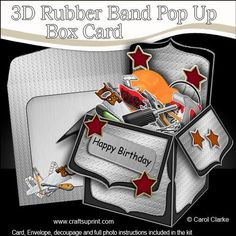 3D DIY Handyman Toolbox Rubber Band Pop Up Box Card on Craftsuprint designed by Carol Clarke - **All NEW Template**6 sheets in the kitRubber Band Operated Pop Up Card2 piece matching envelopecoordinating backing paperGreetings3D decoupageA fabulous card that pops up as soon as it's taken out of it's matching envelope. The rubber band hidden inside the card instantly transforms your lovely design into a box as if by magic! The card easily folds flat to fit into it's matching envelope and once…