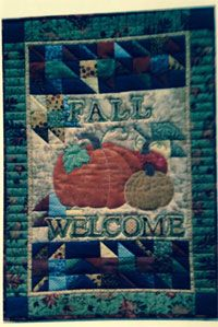 """Fall Welcome Banner Pattern by Poorhouse Quilt Designs at KayeWood.com. We look forward to those bright, crisp chilly days and an amazing array of colors- why not welcome Fall with a banner?  24"""" x 36""""http://www.kayewood.com/item/Fall_Welcome_Banner_Pattern/3408 $12.00"""