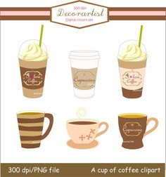 Digital clip art coffee cup  A cup of coffee clip by decorartist, $4.50