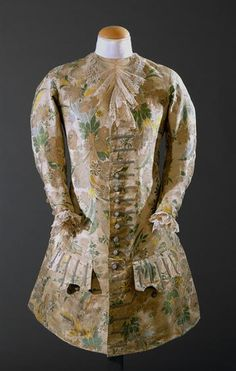 Waistcoat, 1712-1720, Portugal, Cream silk in shades of green, brown and yellow. Museu Nacional do Traje