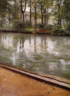 The Yerres, Rain. Gustave Caillebotte