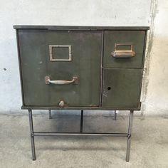 repurposed military file cabinet nightstand