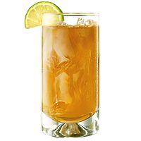 Jamaican Storm ~ Stirrings Ginger Liqueur, Myers's Original Dark Rum, ginger ale and   1 slice lime.