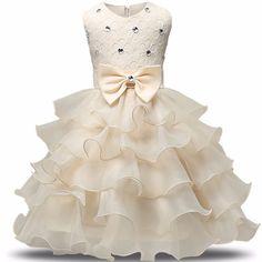 2017 Květin šaty Princess Tutu Svatební šaty pro dívky Elegantní Kids Party Wear obřady narozeninový dort Křest šaty