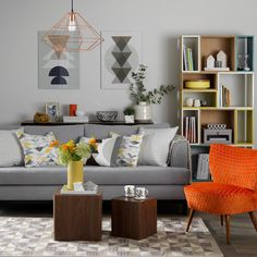 Superieur 6 Ways To Add Zesty Orange To A Room. Living Room OrangeGray ...