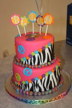 Zebra print and peace sign cake 2 tone - chocolate cake with chocolate buttercream and peanut butter buttercream filling. Covered in fondant and fondant and gumpaste decorations. Peace Sign Party, Peace Sign Birthday, Peace Sign Cakes, Peace Cake, Peace Signs, Pretty Cakes, Cute Cakes, Beautiful Cakes, Amazing Cakes