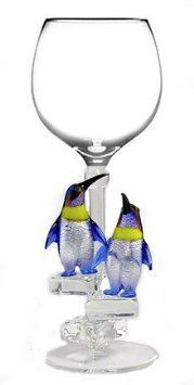 Amazon.com: Yurana Designs Penguins Wine Glass Sculpture Model W263: Kitchen & Dining