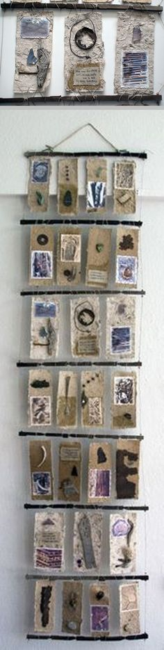 """Tracks Along The Arkansas ~ artist Mary-Ellen Campbell, 'Books From Natural Materials' series; 84"""" x 24"""" x 2"""", mixed media & found objects #art"""