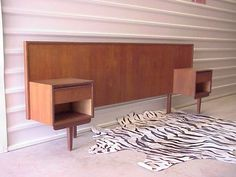 Mid Century Danish Modern Teak Headboard W/attached Nightstands - Queen Or Full