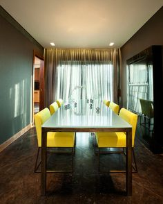 Modern Dining Room By Elad Gonen U0026amp; Zeev Beech Yellow Dining Chairs,  Leather Dining