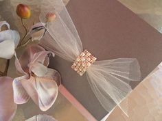 Tulle, Pearls and Crystals Wedding Invitation Suite on Etsy, $6.00