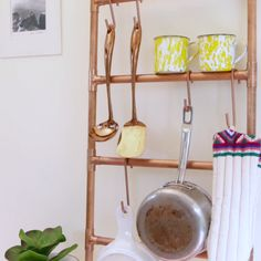 Hang All Your Beautiful Crap By Making These Gorgeous Copper Ladders DIY Copper Ladder Diy Kitchen, Kitchen Storage, Kitchen Hacks, Bathroom Storage, Kitchen Organization, Shower Storage, Bathroom Ideas, Kitchen Design, Diy Deco Rangement