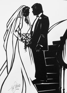 Bridal Couple on spiral staircase, cut paper silhouette by Tim Arnold