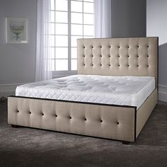Furniture In Fashion Paulina Bed In Linoso Sand With Dark Wooden Feet Bed Frame Sizes, Bed Sizes, Fabric King Size Bed, Retro Bed, Tv Beds, Leather Bed, Furniture Catalog, Beds For Sale, Headboard And Footboard