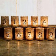 Burlap votive table numbers, GraciousBridal.com, Rs 380 onwards