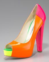 The Brian Atwood Alima Colorblock Fluorescent Platform Pumps are high-heel peep-toe shoes with bright and bold neons and subtle neutrals. Orange Pumps, Orange Orange, Pink Pumps, Neon Shoes, Brian Atwood Shoes, Glamour, Platform High Heels, Fashion Heels, Our Lady