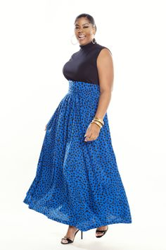 49b3a901e1ef Blue Blk Polka Dot Print High Waist Belted Maxi Skirt