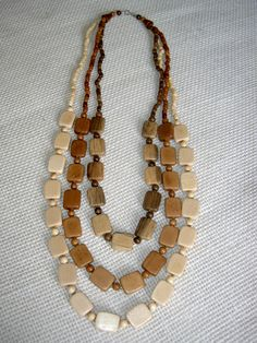Wooden necklace,wooden jewelry ,beaded , hand made wood necklace  ,strand, gift for her