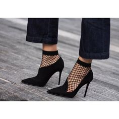 Socks: fishnet tumblr pumps pointed toe pumps high heel pumps black heels high heels