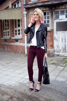 leather jacket outfit: maroon pants. by adrian