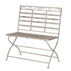 """Delicate Washed Metal Garden Bench """"Delia"""""""