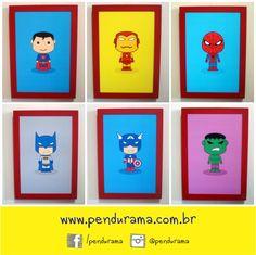 Super Cute Heroes todos na moldura vermelha 20x30cm! <3